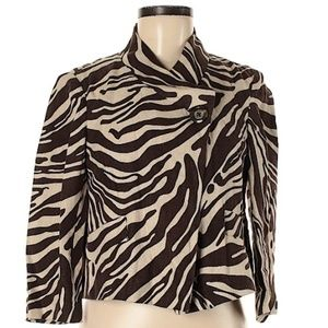 Michael Kors Zebra Print Linen Jacket
